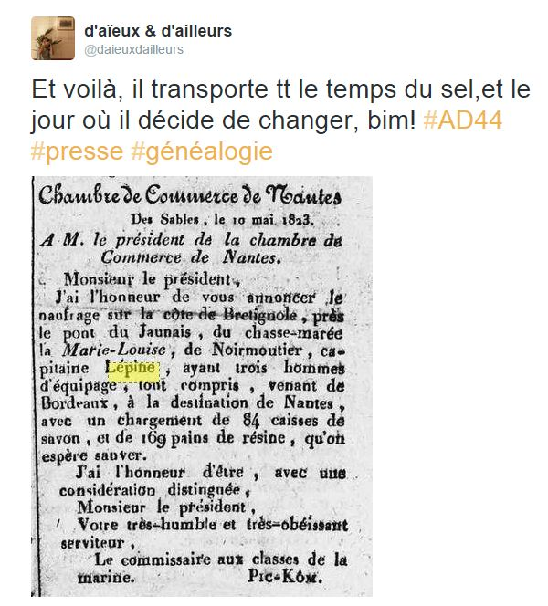 AD44 feuille commerciale 1823 naufrage