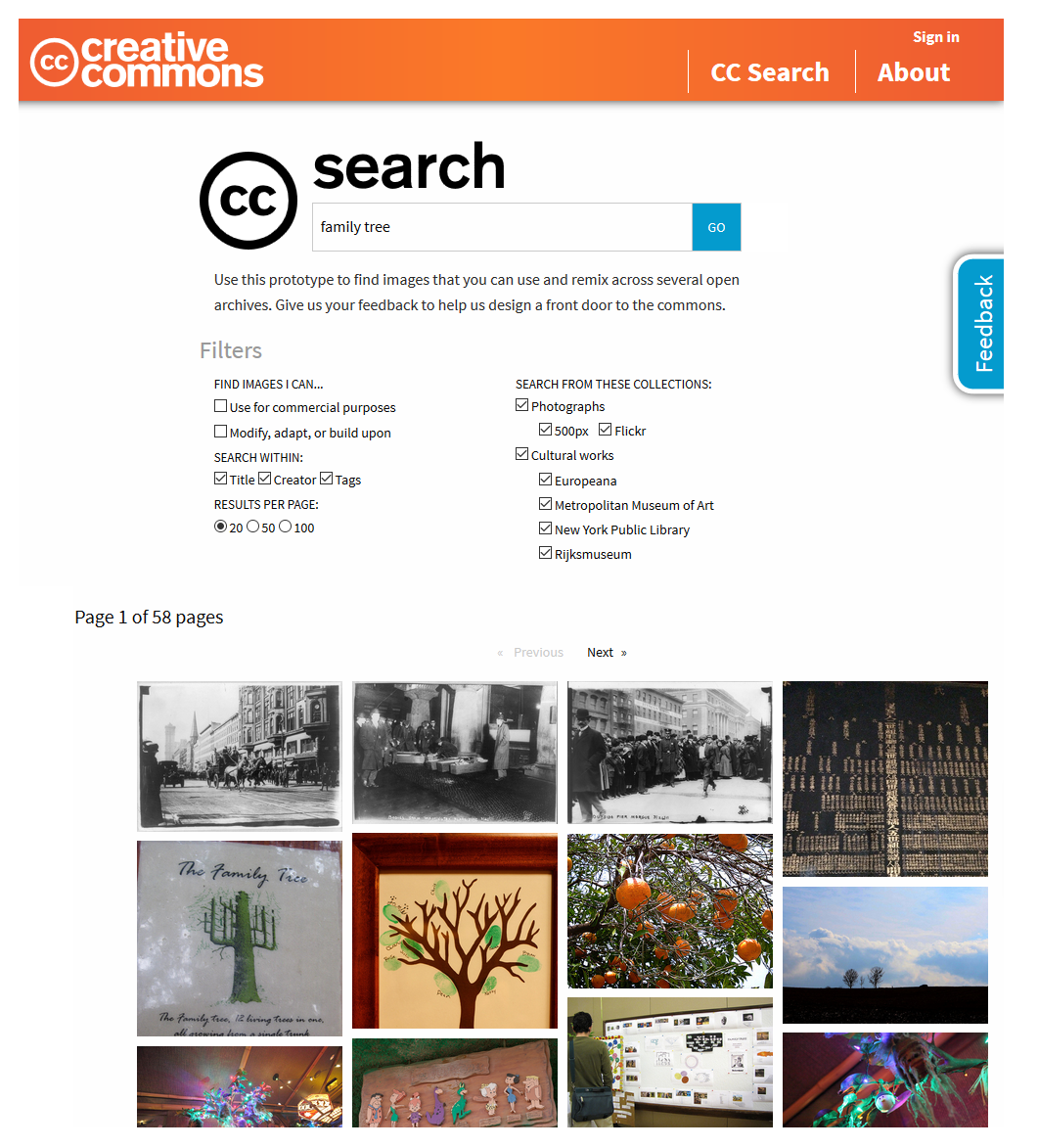 C search creative commons