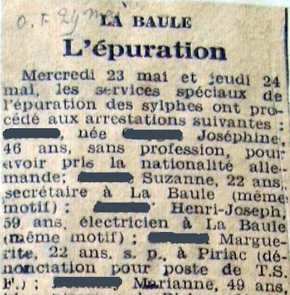 Epuration - Ouest-France, mai 1945 - Archives municipales de Saint-Nazaire